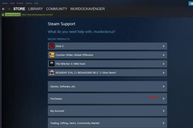 meminta pengembalian dana di Steam