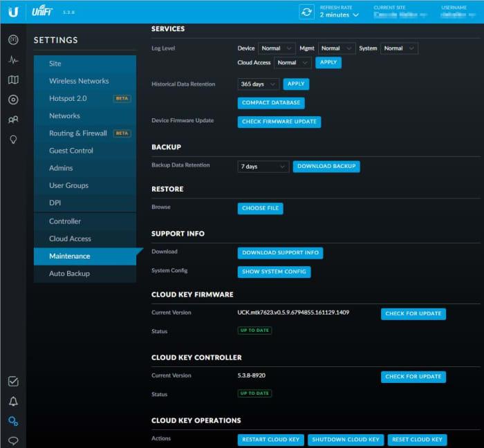 Unifi Site Management - Maintenance