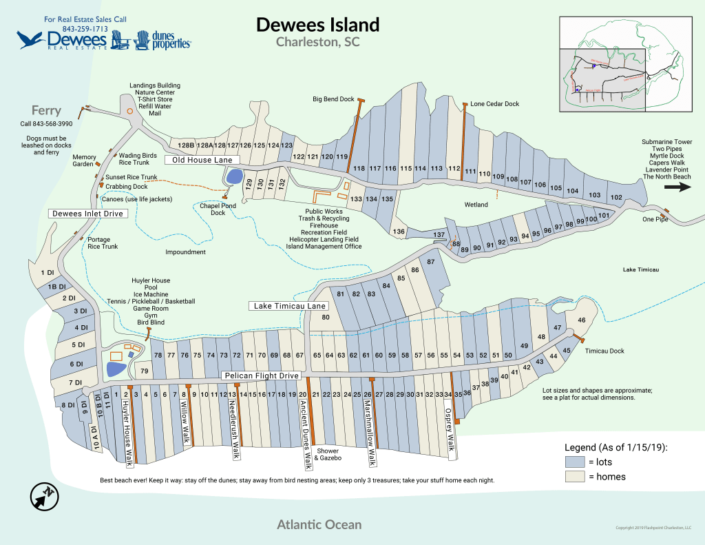 Dewees Island Map updated 2019