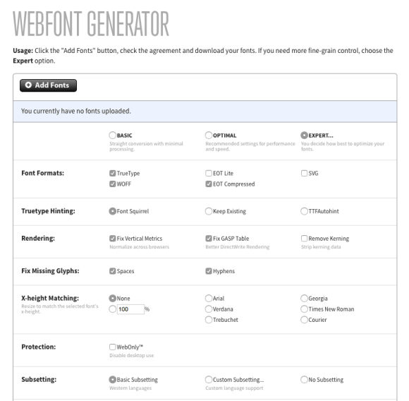 Font Squirrel WebFont Generator Upload and Basic selections