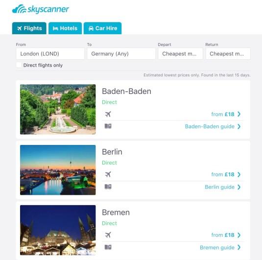 Cheapest Destination Search