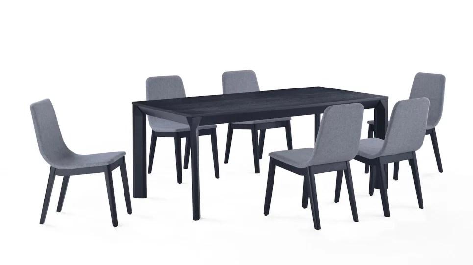 ensemble felicio table 6 chaises grises delorm design