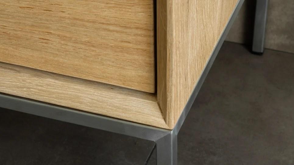 meuble tv en chene massif 2 tiroirs 1 porte rabattable kubico delorm design