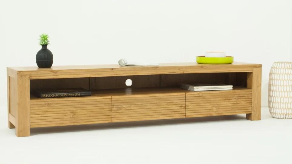 meuble tv design en teck naturel grande taille 170 cm 3 tiroirs