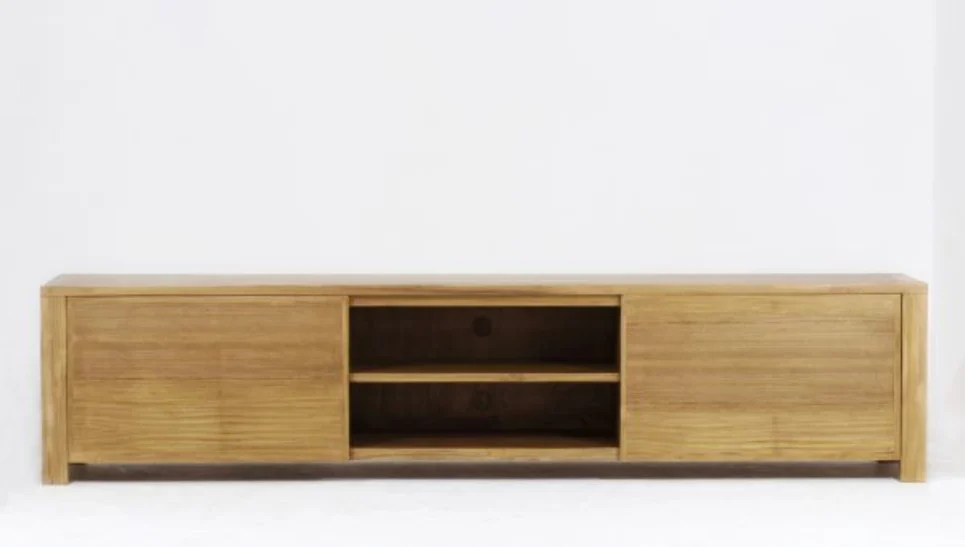 meuble tv en teck massif 2 portes 2 niches square delorm design