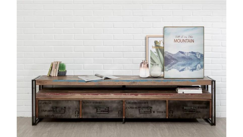 meuble tv 4 tiroirs 1 niche teck recycle 210 cm loft delorm design