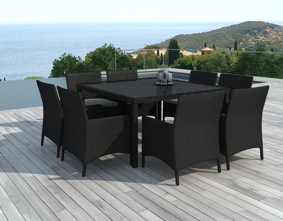 table et chaises de jardin 8 personnes en resine tressee noire carre delorm design
