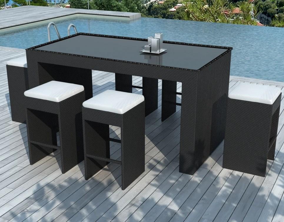 bar de jardin design en resine tressee structure aluminium