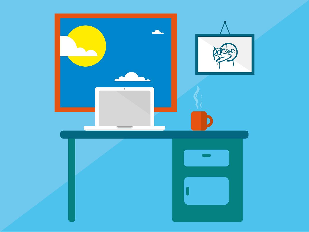 immagine con scrivania, pc in smartworking, finestra e tazza