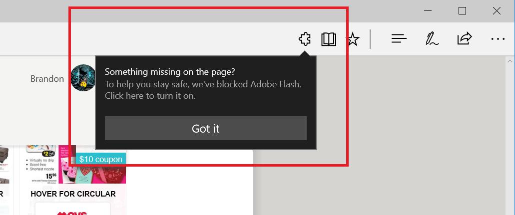 New URL bar diaglog for click-to-run Flash in Microsoft Edge