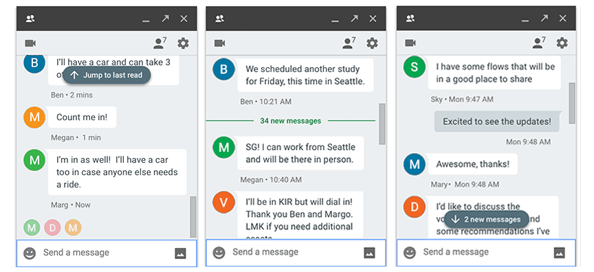 Redesigned unread messages indicators in Hangouts