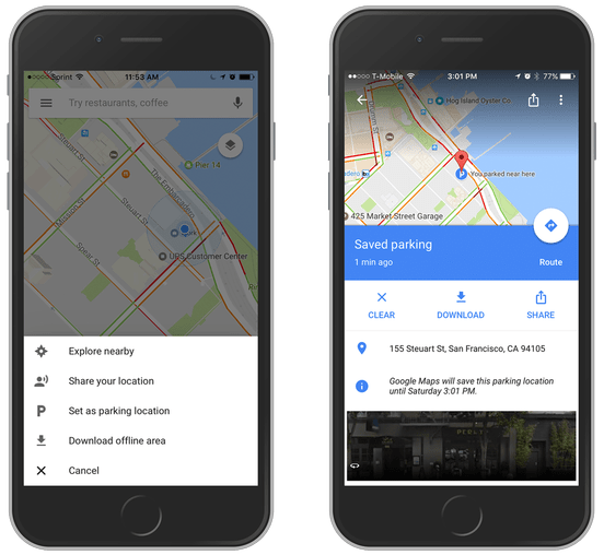 Saved parking in Google Maps on iOS