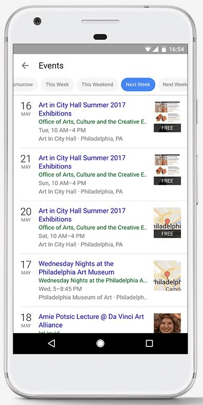 Google Event search filters