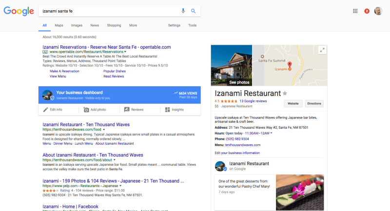New Google My Business Dashboard within Search