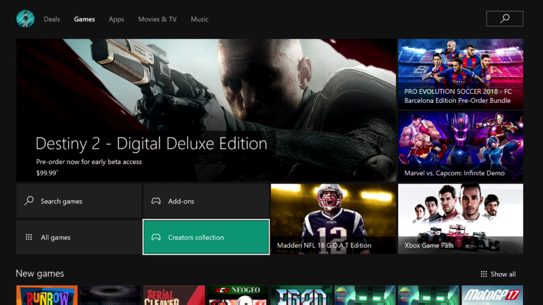 Creators Collection on Xbox One Insiders Alpha ring