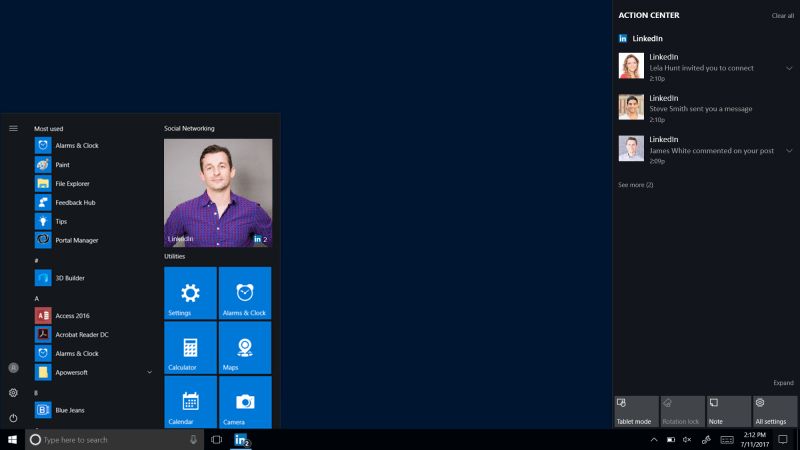 LinkedIn Windows 10 app