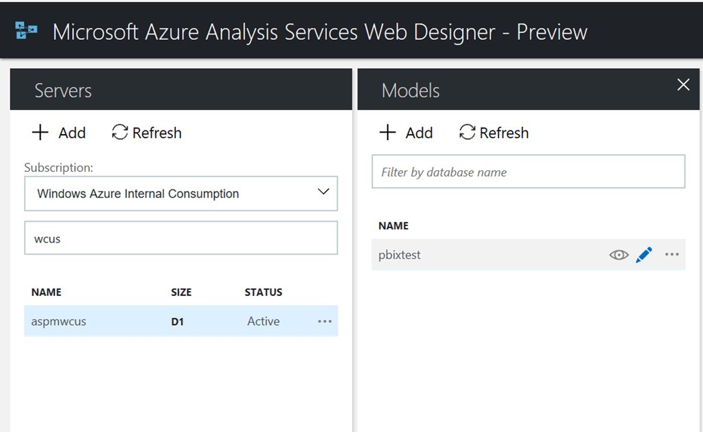 Azure Analysis Services web designer