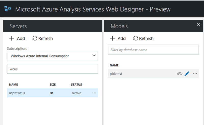 Azure Analysis Services web designer