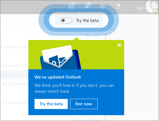 Outlook.com beta toggle switch