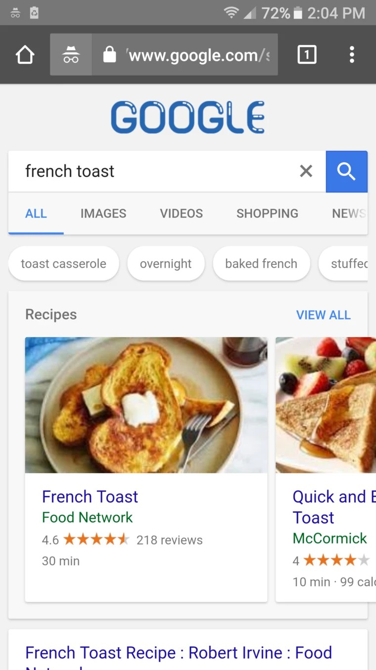 google mobile receipe search results