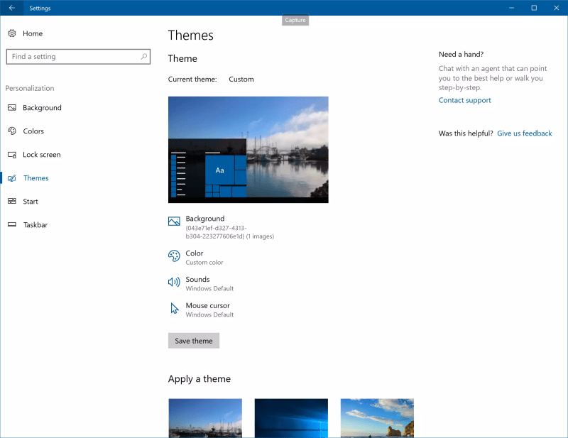 Windows Theme Management in Settings
