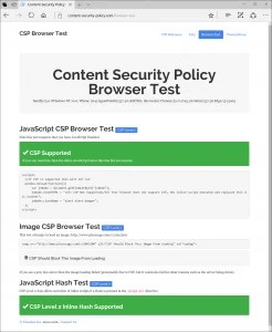 csp browser test loaded in edge with csp and csp2 both passing