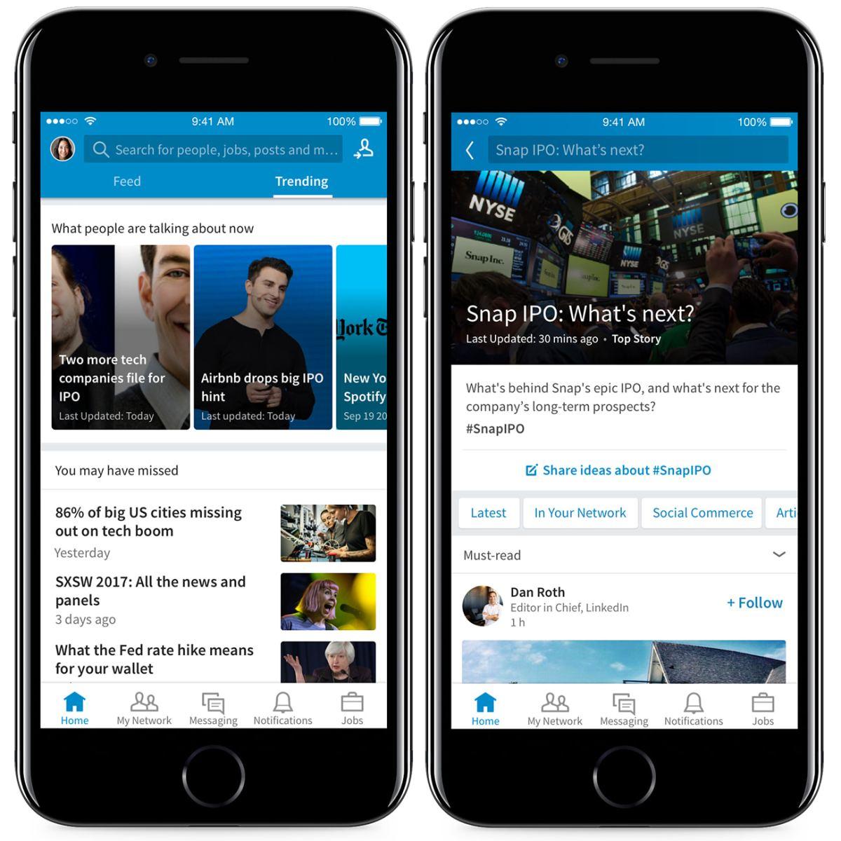 Trending Storylines on LinkedIn Feed