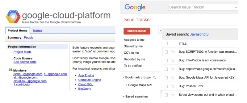 Left: Google Code issue tracker, right: new Google Issue Tracker
