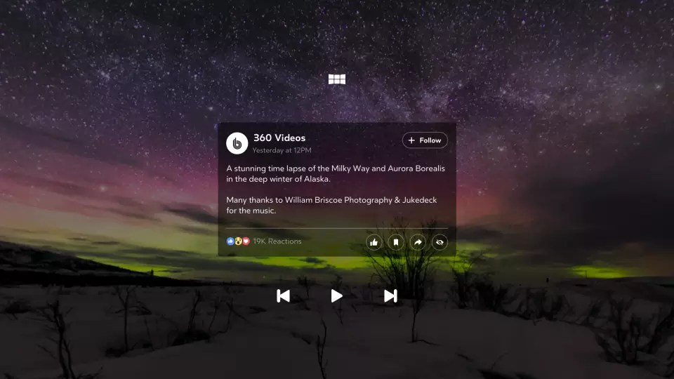 Facebook 360 for Gear VR: Pull up photo or video information and react