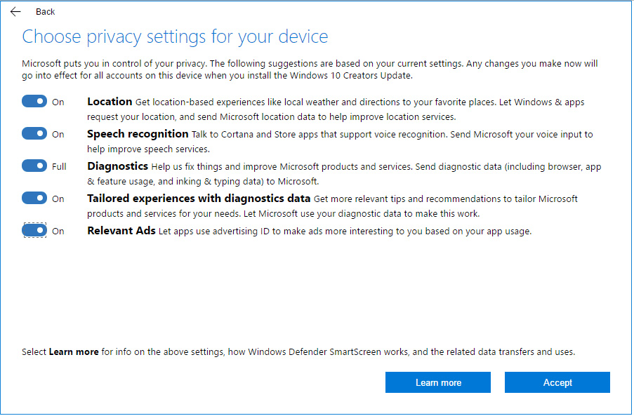 windows 10 creators update privacy settings page -toggle on