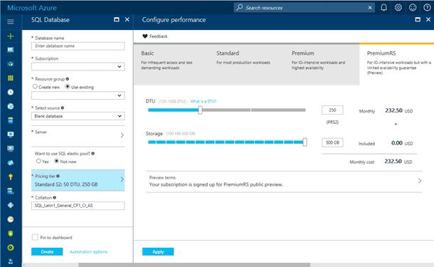 Azure SQL Database enhanced pricing tier portal