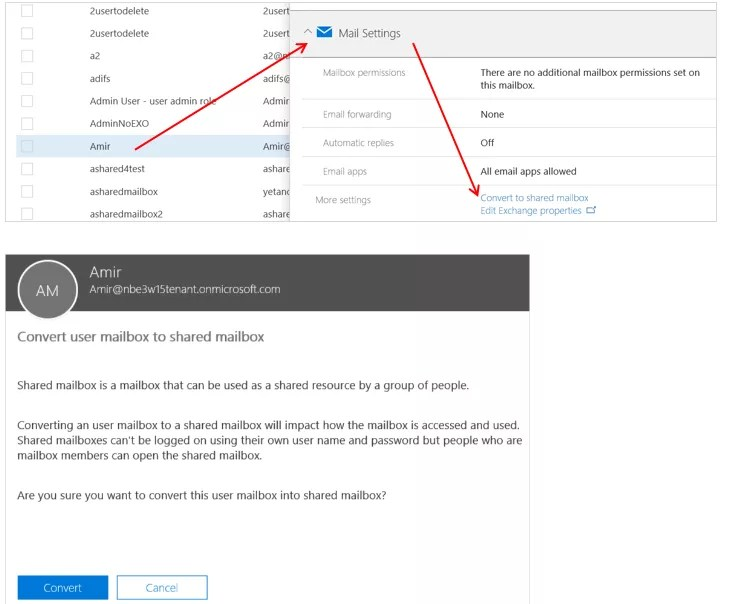 Mailbox settings in Office 365 admin center