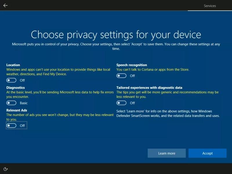 windows 10 creators update privacy setup screen- toggle off