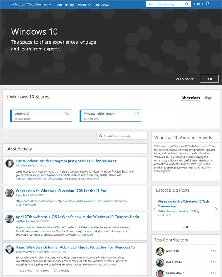 windows 10 tech community