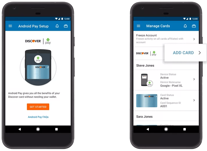 Add card to Android Pay from Discover banking app