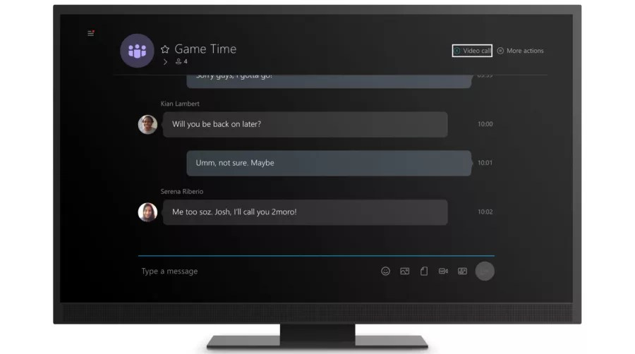 Instant messaging on Skype app for Xbox One