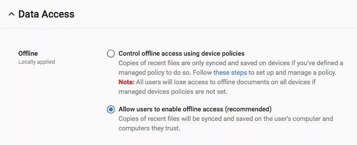 New G Suite Admin settings for offline access