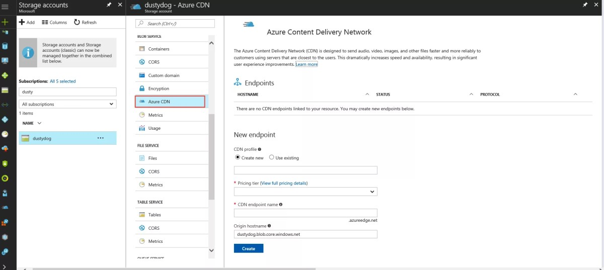 Enabling Azure CDN from Azure web app and storage account portal extension