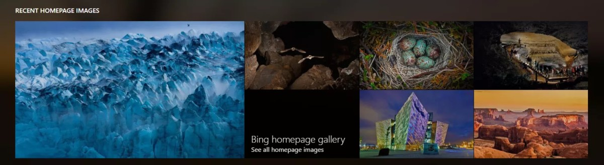 Bing Recent Homepage Image Gallery