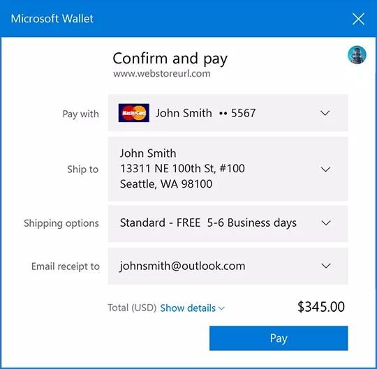 Microsoft Wallet Dialog Box