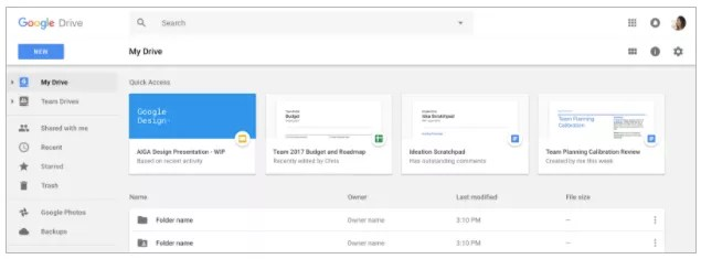 Quick Access in Google Drive now on web