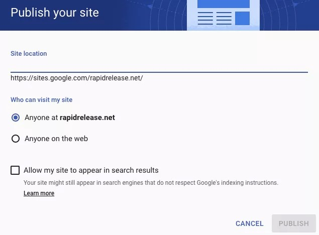 Google Sites Publish your Site Option