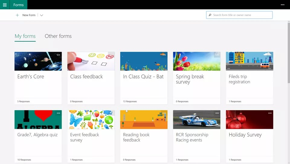 Microsoft Forms Portal with Search