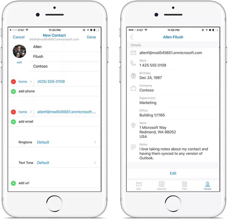 Add, Edit contacts from Outlook on iOS and Android