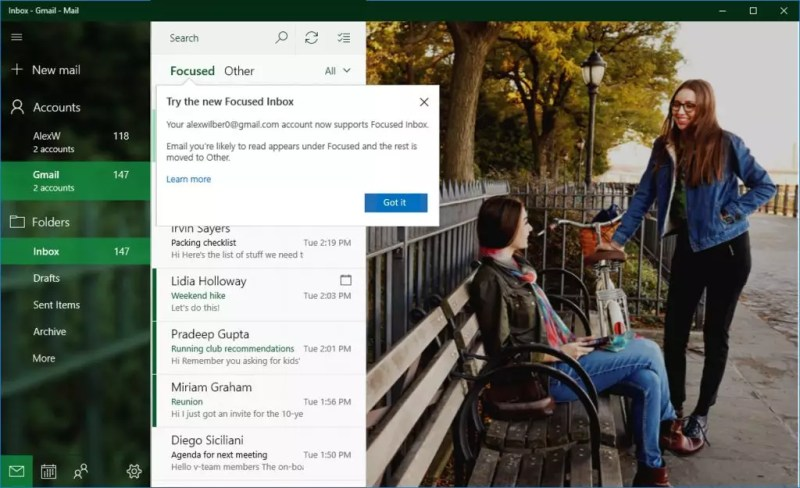 Focsed Inbox in Gmail accounts in Windows 10 Insiders