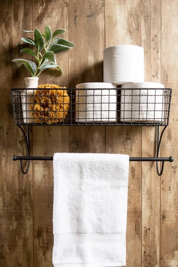 farmhouse towel rack large black