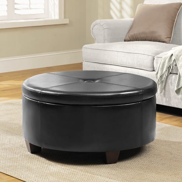 large round button top storage ottoman brown