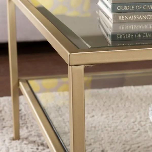 gold metal glass coffee table