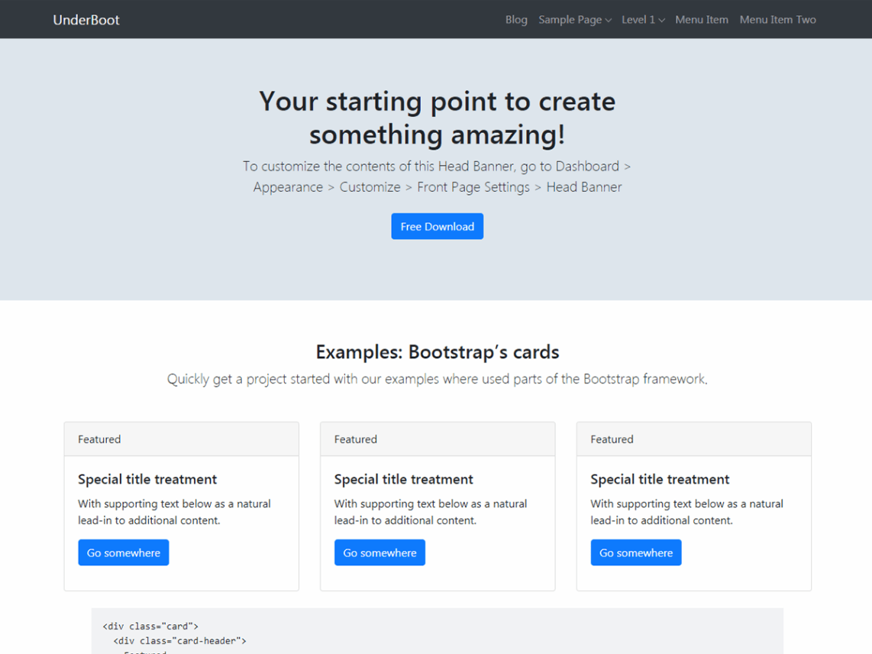 UnderBoot WordPress Theme