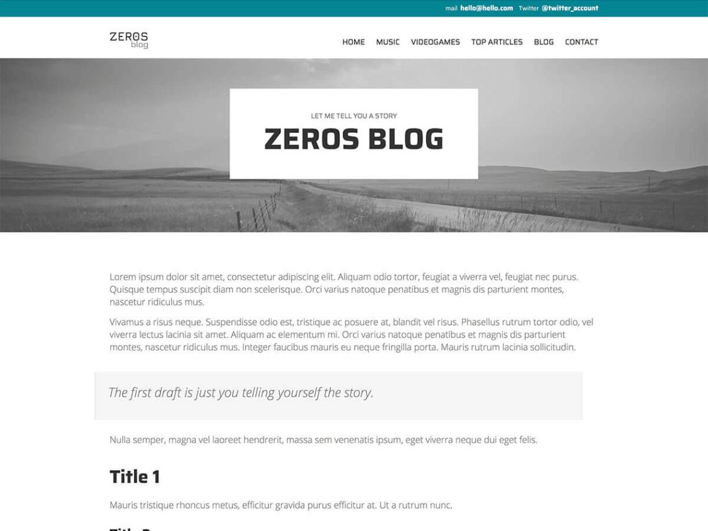 Zeros WordPress Theme